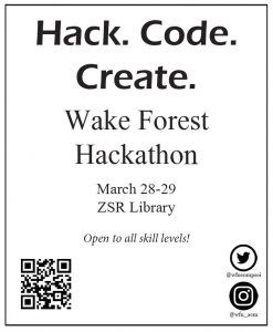 Flyer for the WFU Hackathon 2020. Provides date, time, and a QR code for more information.