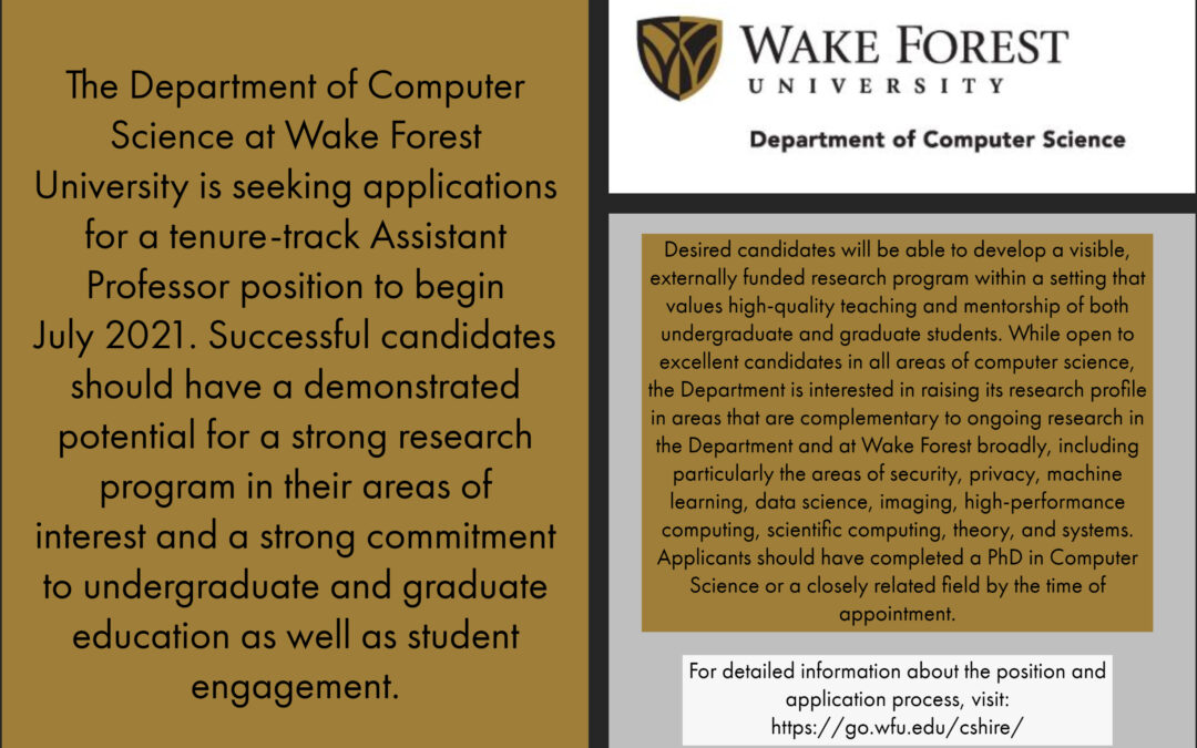 The Department of Computer Science is hiring!