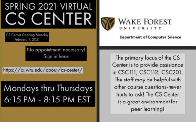 CS Center Opening February 1, 2021 – NEW time 6:15 PM – 8:15 PM EST.